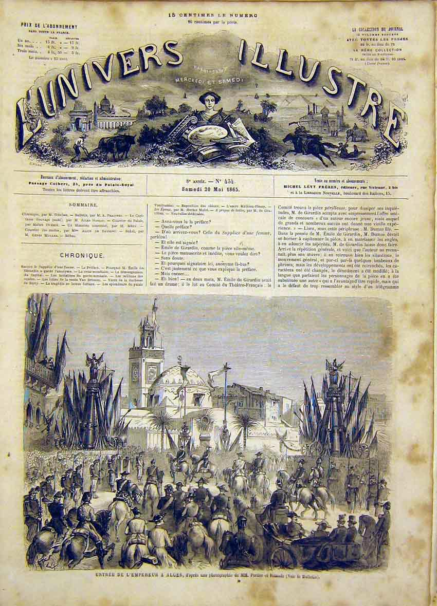 Print Emperor Algiers Africa Alger French 1865 14Lun0 Old Original