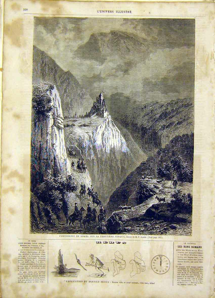 Print Fortress Sokol Turkey Kanitz French 1865 20Lun0 Old Original
