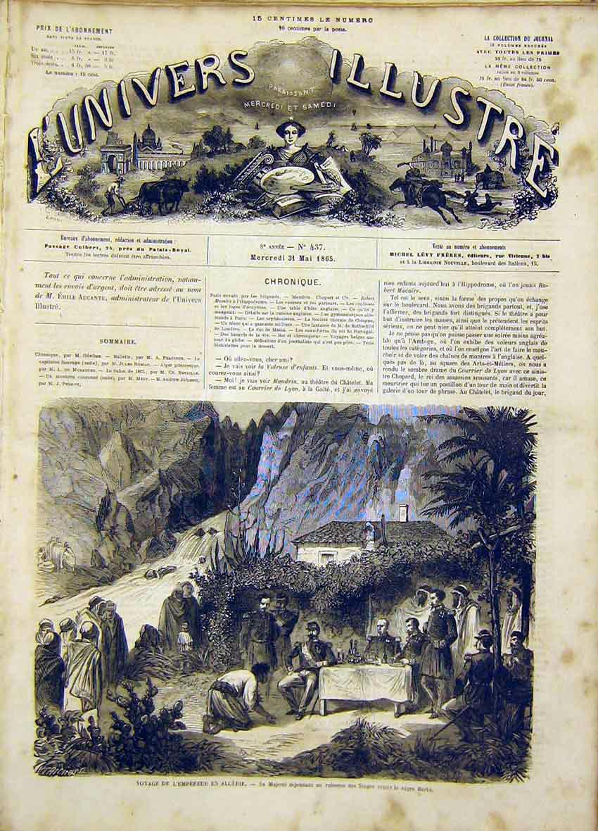 Print Emperor Algeria Singes Barka French 1865 38Lun0 Old Original