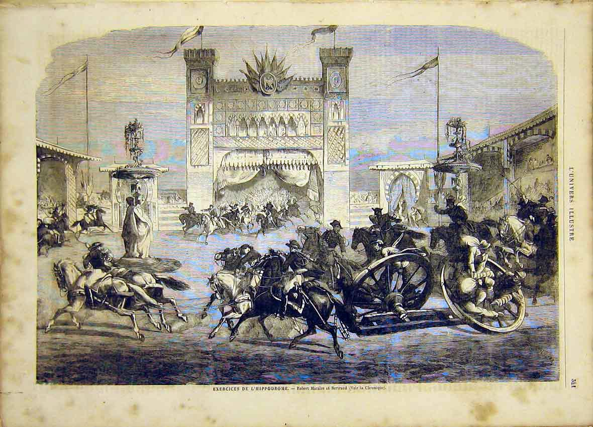 Print Hippodrome Exercise Macaire Bertrand French 1865 41Lun0 Old Original