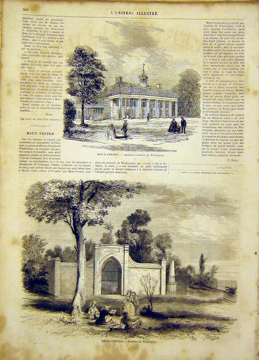 Print Mont-Vernon Washington Tomb French 1865 60Lun0 Old Original