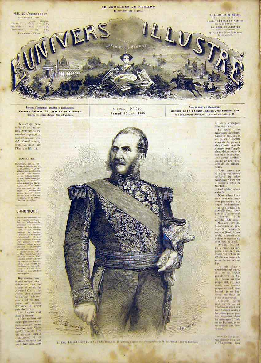 Print Portrait Marecual Magnan French 1865 62Lun0 Old Original