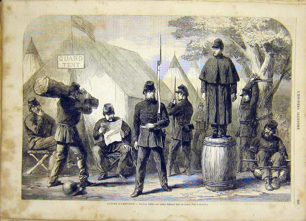 Print American Civil War Federal Soldiers French 1865 65Lun0 Old Original