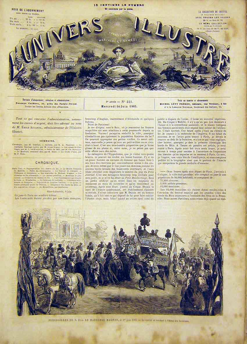 Print Funeral Magnan Procession French 1865 70Lun0 Old Original