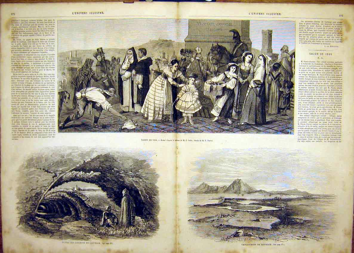Print Rome Smits Cave Carthagena Beach Sea French 1865 71Tlun0 Old Original