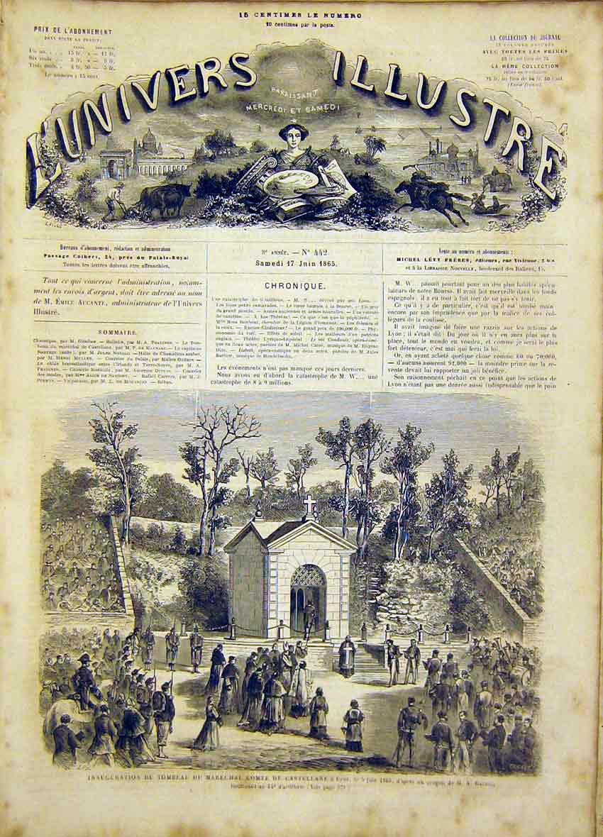 Print Inauguration Lyon Comte Castellane French 1865 78Lun0 Old Original