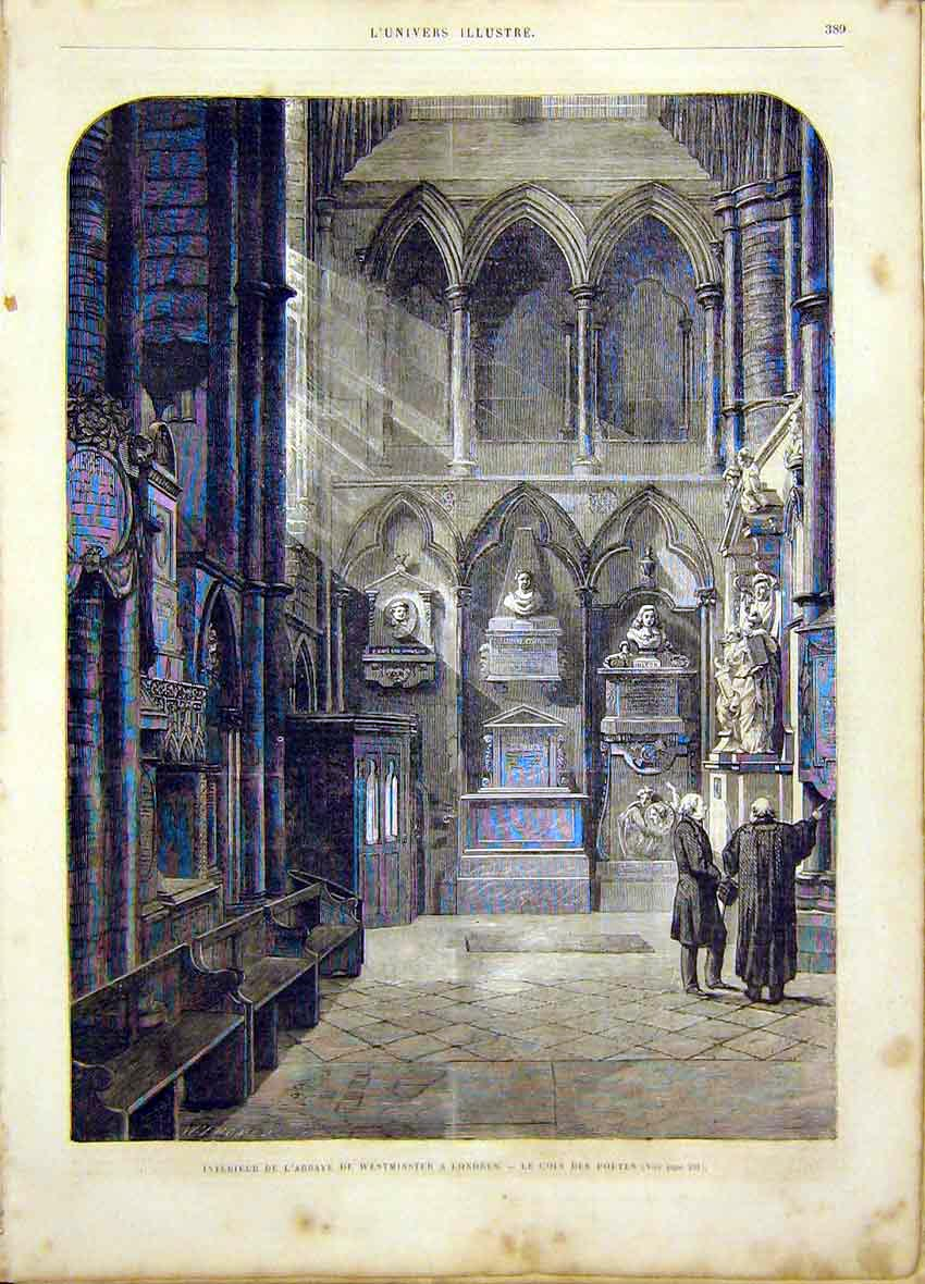 Print Abbey Westminster London Poets French 1865 89Lun0 Old Original