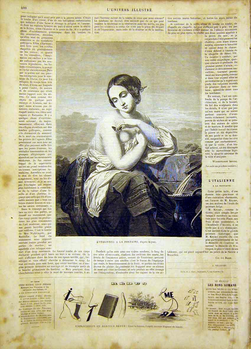 Print Italian Fountain Keyser Fine Art French 1865 00Lun0 Old Original
