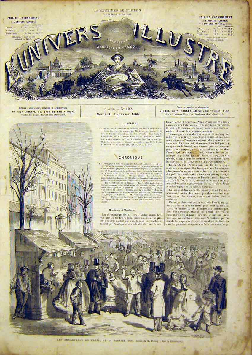 Print Boulevards Paris Pelcoq French 1866 02Lun0 Old Original