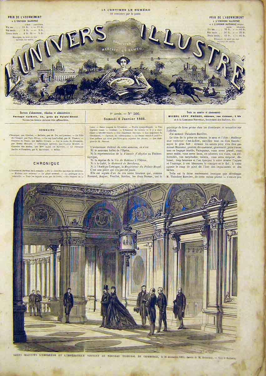 Print Commerce Tribunal Emperor Empress Imperial 1866 10Lun0 Old Original