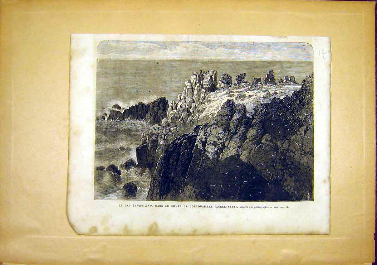 Print Land'S End Cape Corwall England French 1866 12Llun0 Old Original