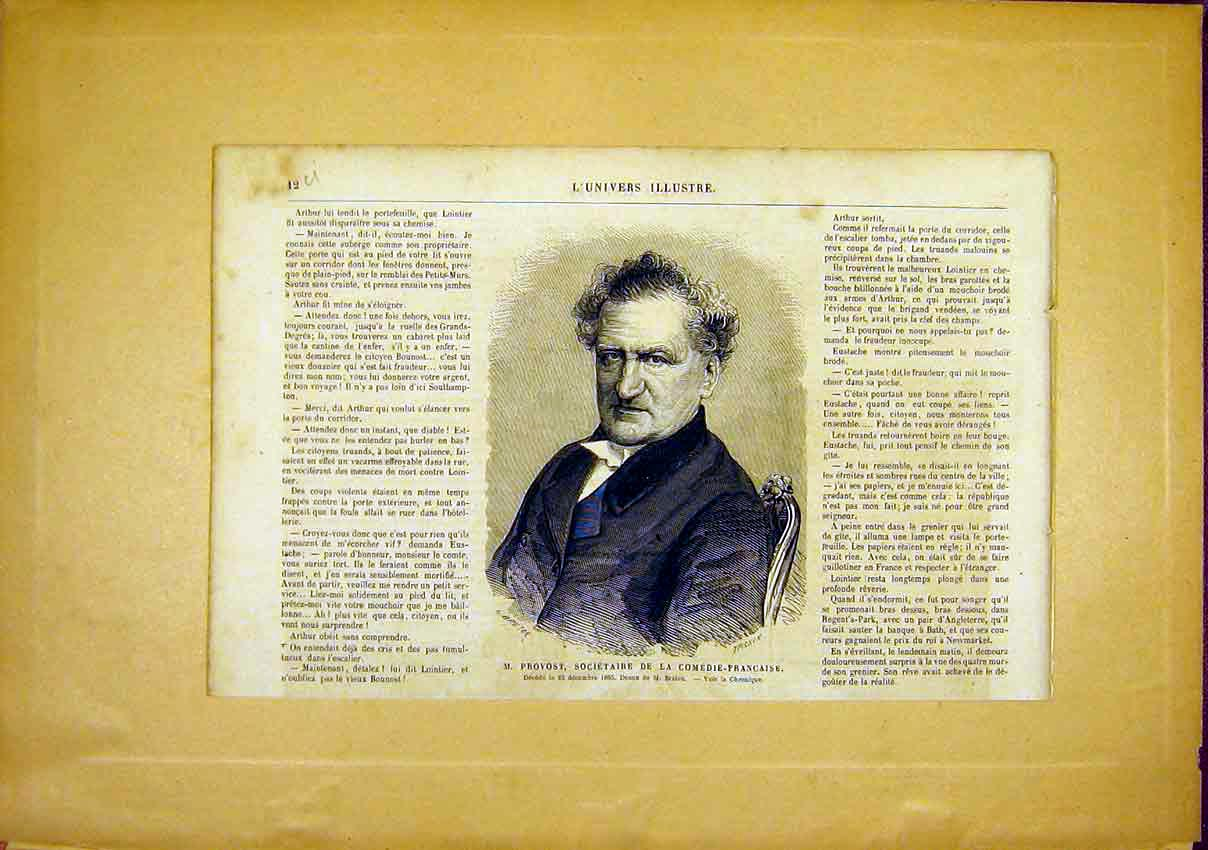 Print Portrait Provost Comedy Society French 1866 12Ulun0 Old Original