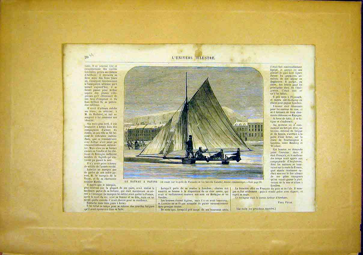 Print Ice Boat Finland Canada French 1866 Ice-Boat 20Ulun0 Old Original
