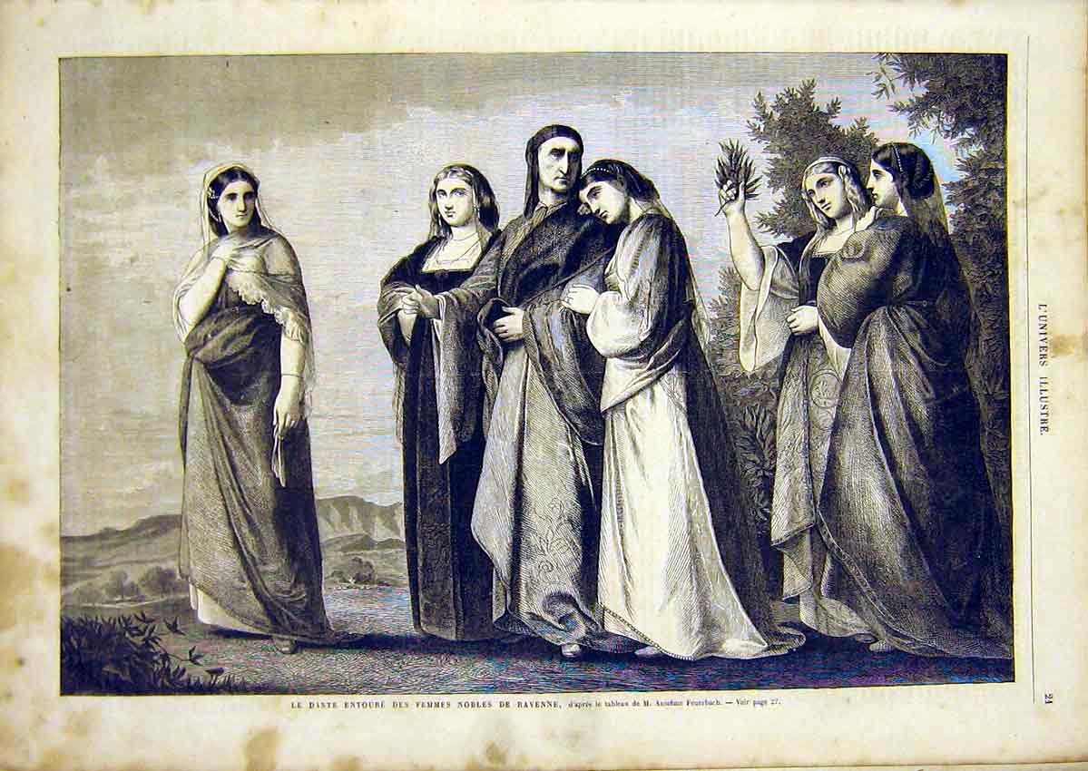 Print Ladies Ravenne Nobles Feuerbach French 1866 21Lun0 Old Original