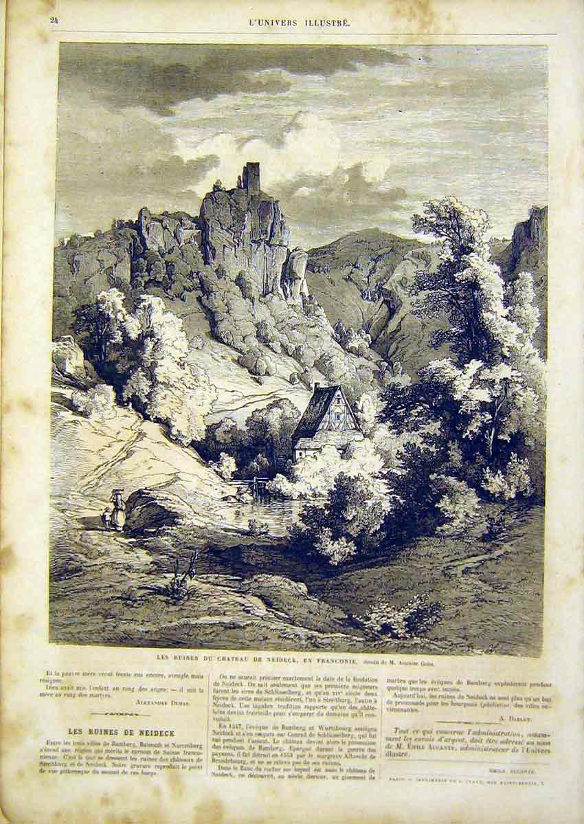 Print Ruins Castle Neideck France Geist French 1866 24Lun0 Old Original
