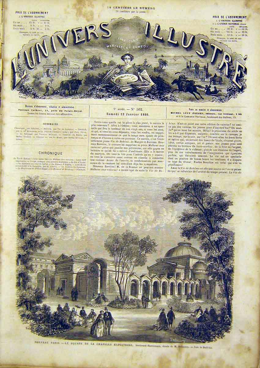 Print Paris Chapel Haussmann Square French 1866 26Lun0 Old Original