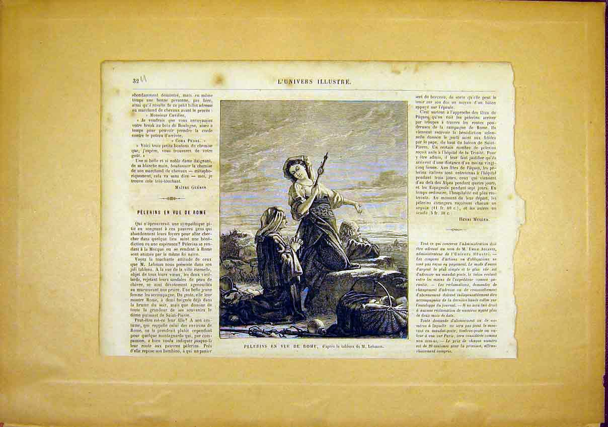 Print Pelerins Rome View Italy French 1866 32Ulun0 Old Original