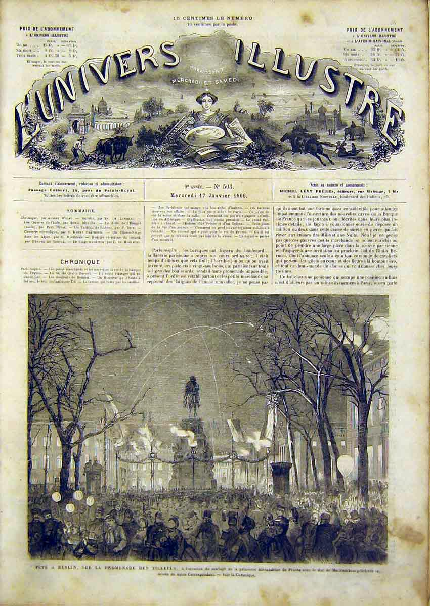 Print Fete Berlin Tilleuls French 1866 Princess Prussia 34Lun0 Old Original