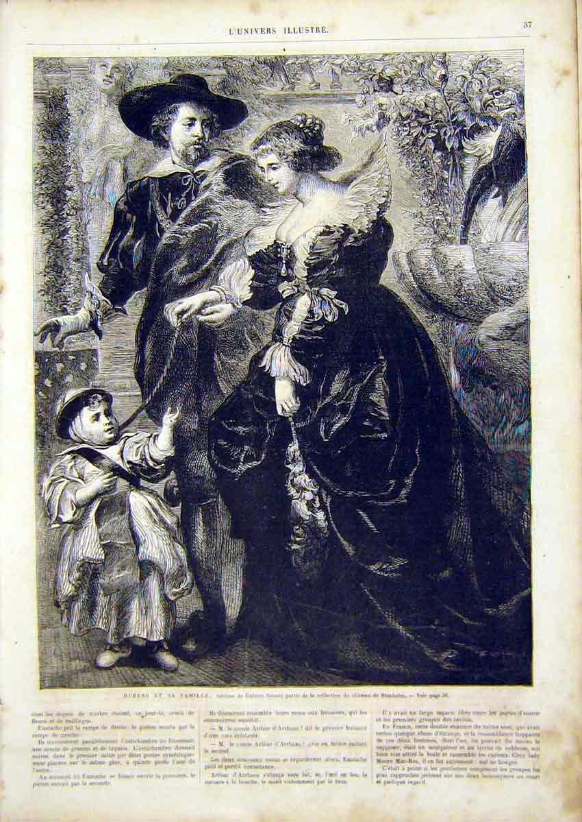 Print Rubens Family Portrait French 1866 37Lun0 Old Original