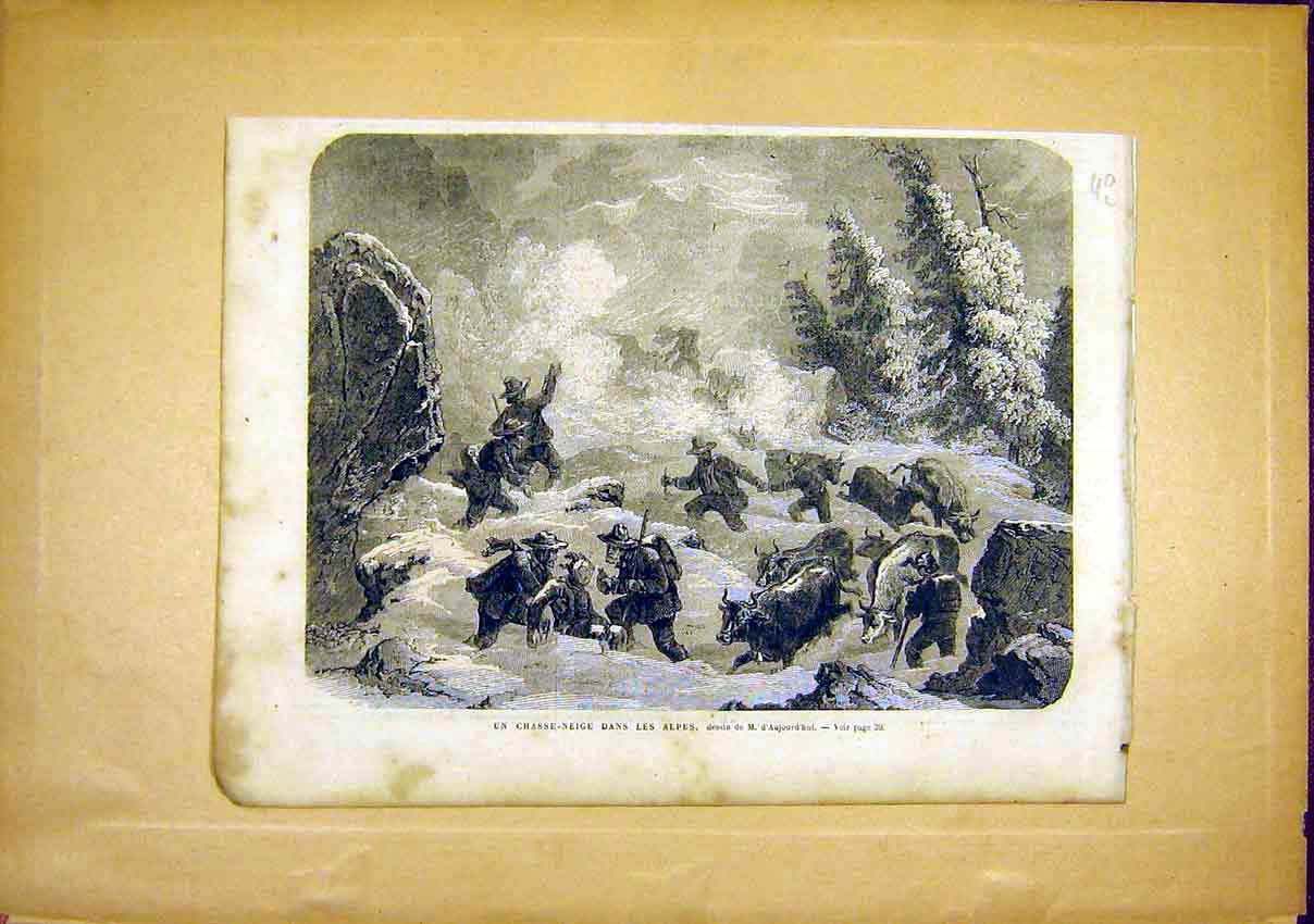 Print Alps Alpes Avalanche Snow Cattle French 1866 40Llun0 Old Original