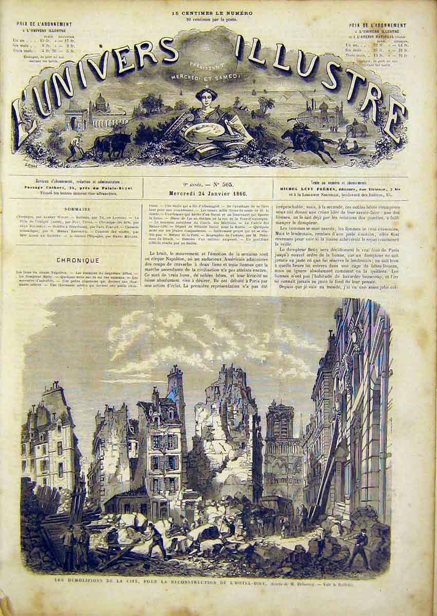 Print Hotel Dieu Delannoy Demolitions French 1866 50Lun0 Old Original