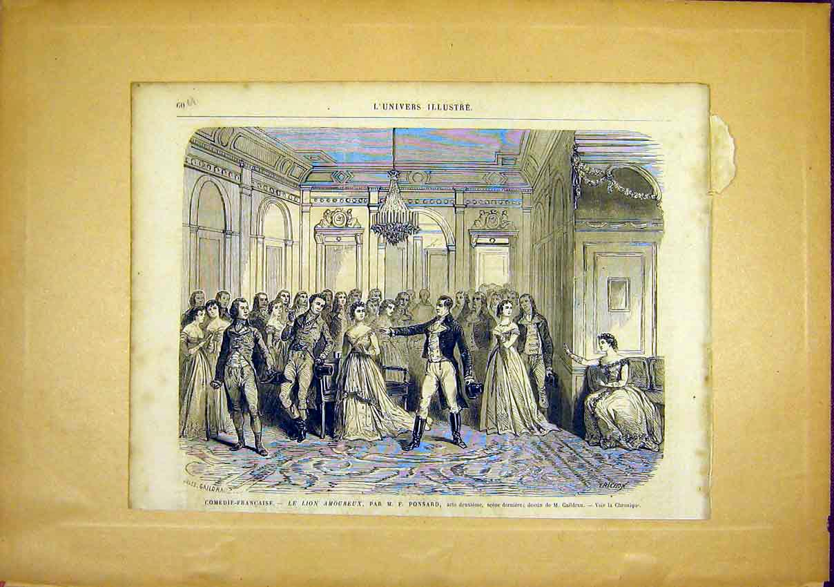 Print French Comedy Ponsard Lion Amoureux 1866 60Ulun0 Old Original
