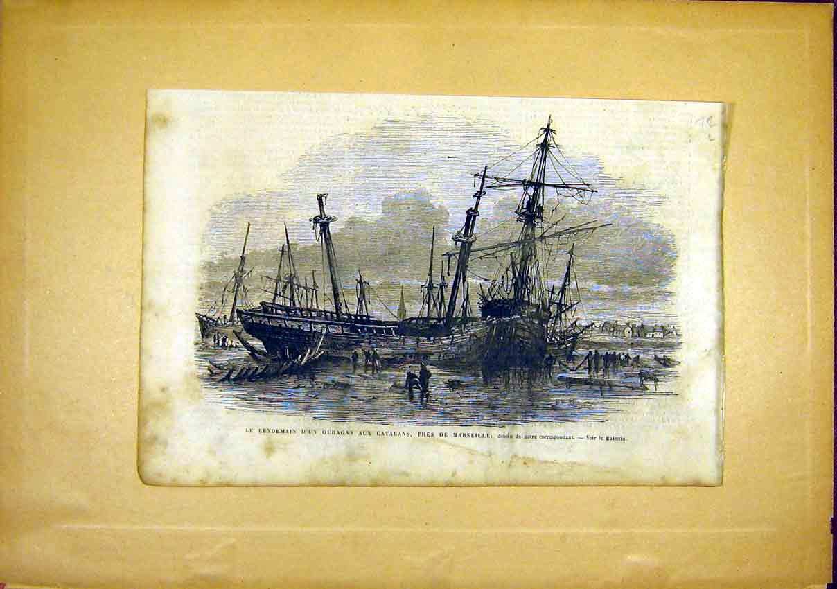 Print Marseille Ship Wreck Storm Catalans French 1866 72Llun0 Old Original