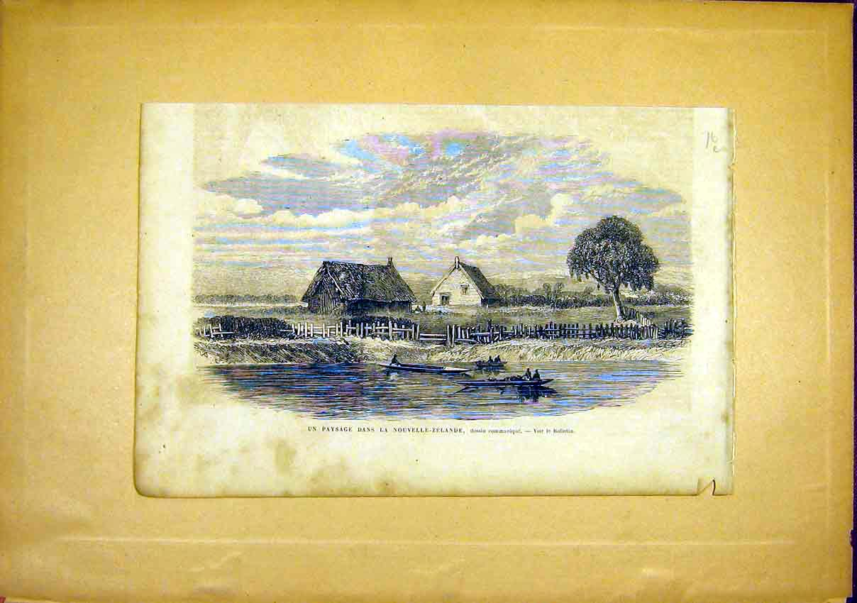 Print New Zealand Boat River House French 1866 76Llun0 Old Original