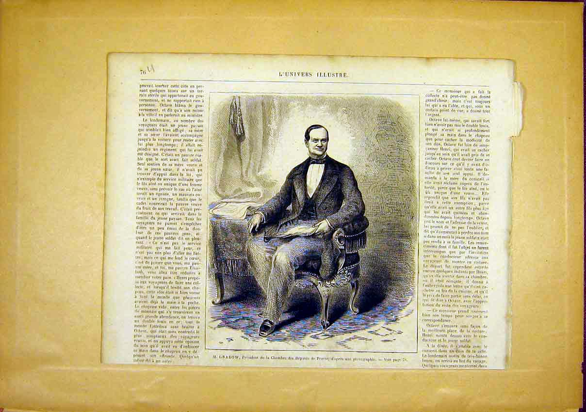 Print Portrait Grabow Prussia French 1866 76Ulun0 Old Original