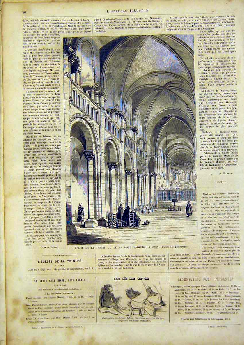 [Print Mathilde Caen France Trinity Building French 1866 80Lun0 Old Original]
