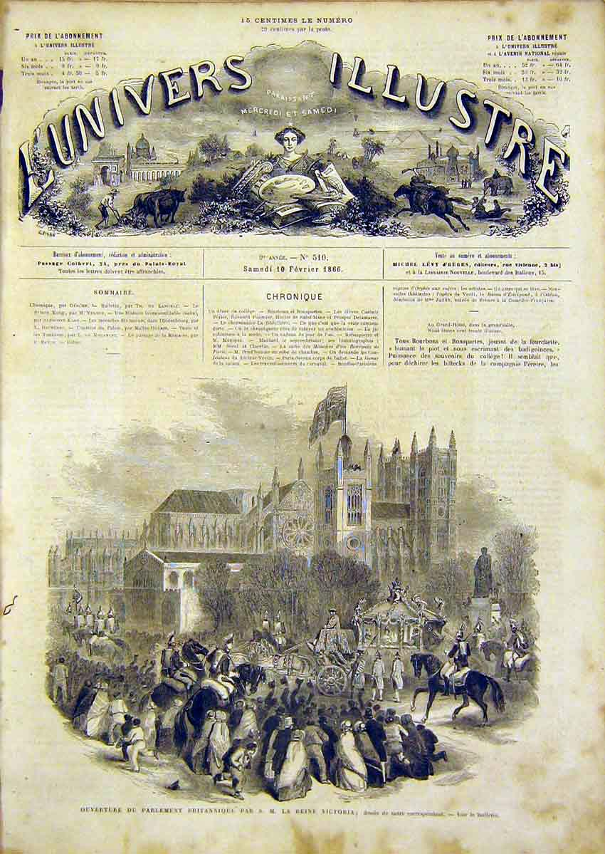 Print Parliament British Queen Victoria French 1866 90Lun0 Old Original