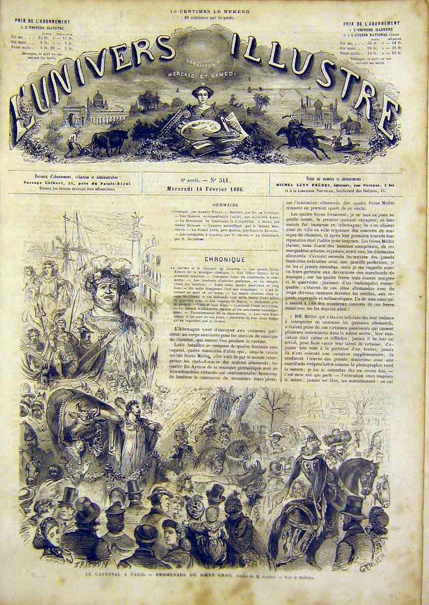 Print Carnival Paris Gerlier Festival French 1866 98Lun0 Old Original