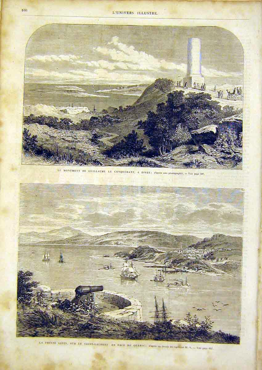 Print Guillaume Dives St Lawrence Quebec French 1866 00Lun0 Old Original