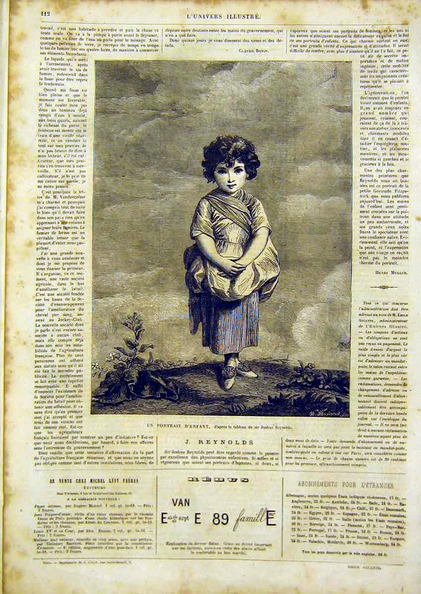 Print Portrait Child Girl Reynolds Fine Art French 1866 12Lun0 Old Original