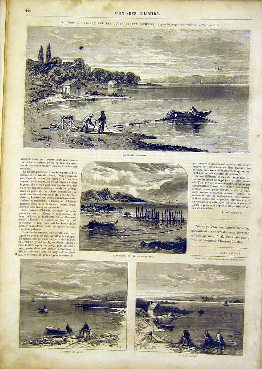 Print Boat Fishing Nets Trap Fishermen French 1866 20Lun0 Old Original