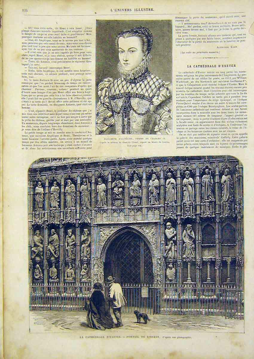 Print Austrian Elizabeth Cathedral Exeter French 1866 24Lun0 Old Original