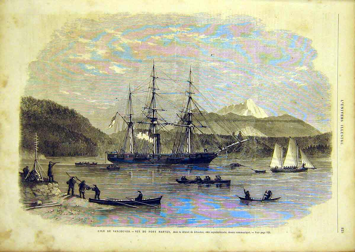 Print Vancouver Port Harvey Johnston Canada 1866 25Lun0 Old Original