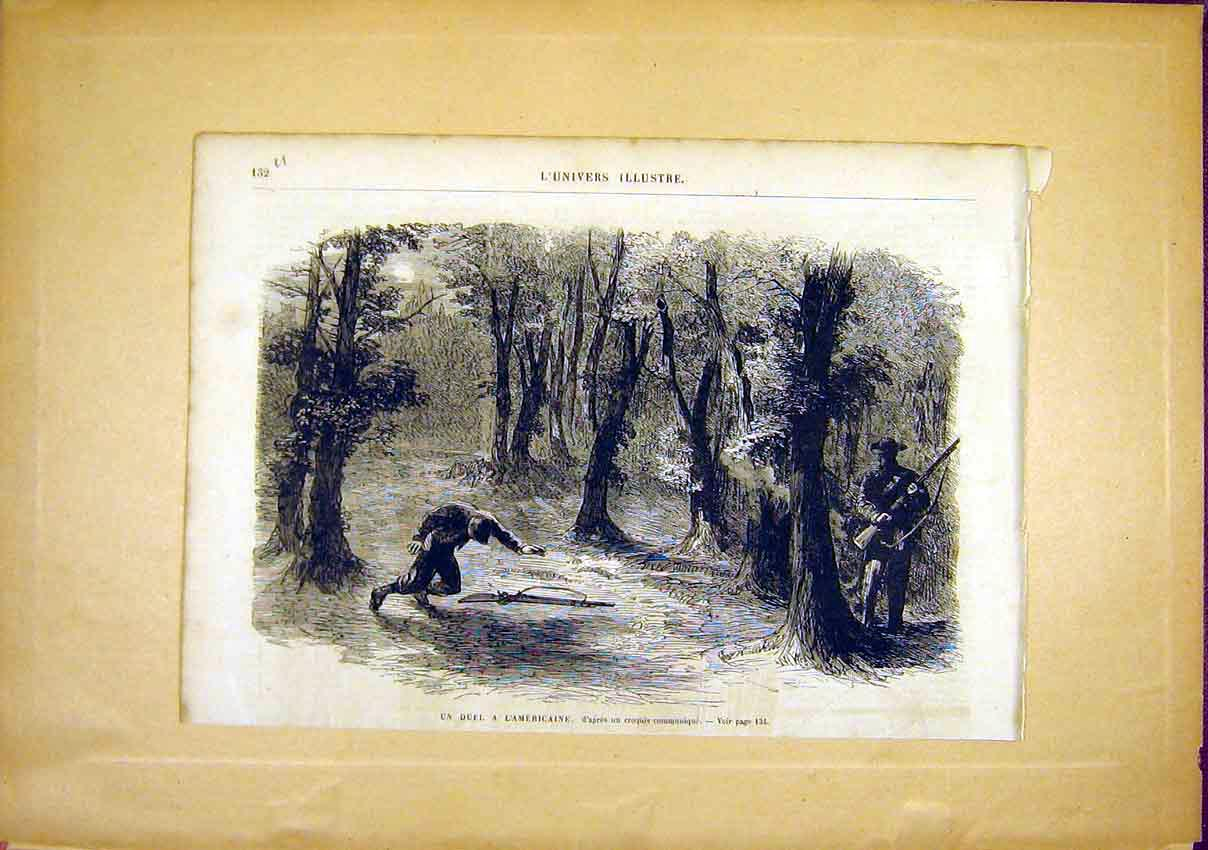 Print American Fight Civil War French 1866 32Ulun0 Old Original