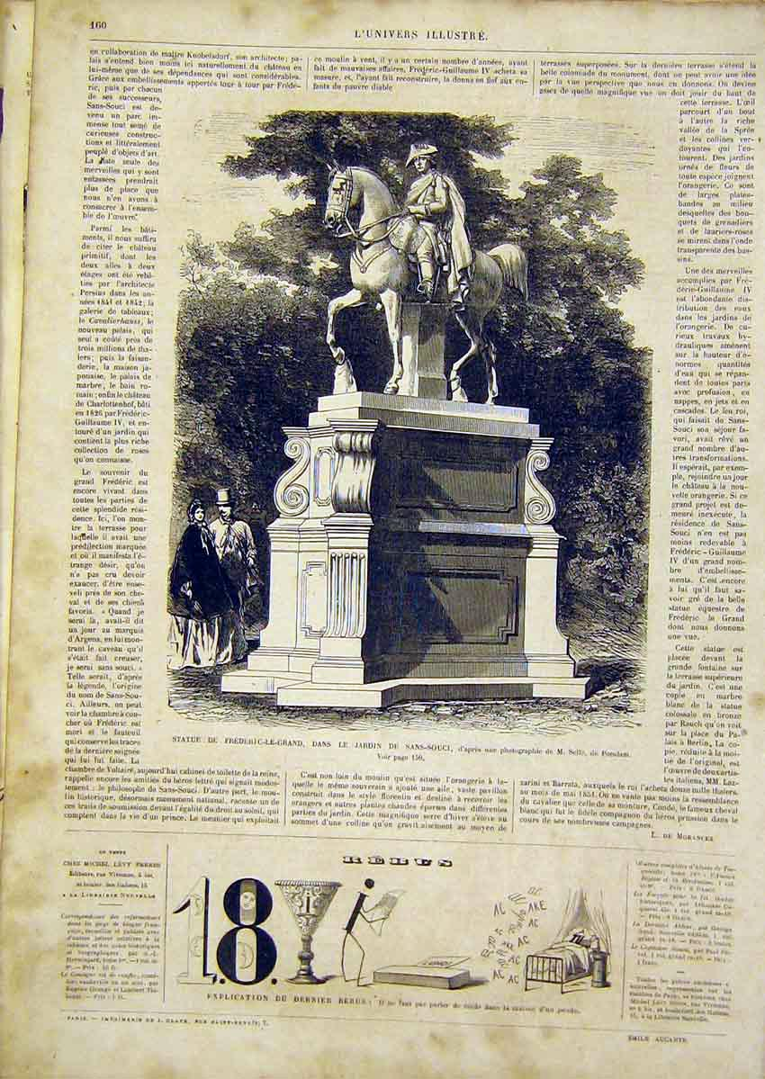 Print Statue Frederic Sans-Souci Garden French 1866 60Lun0 Old Original