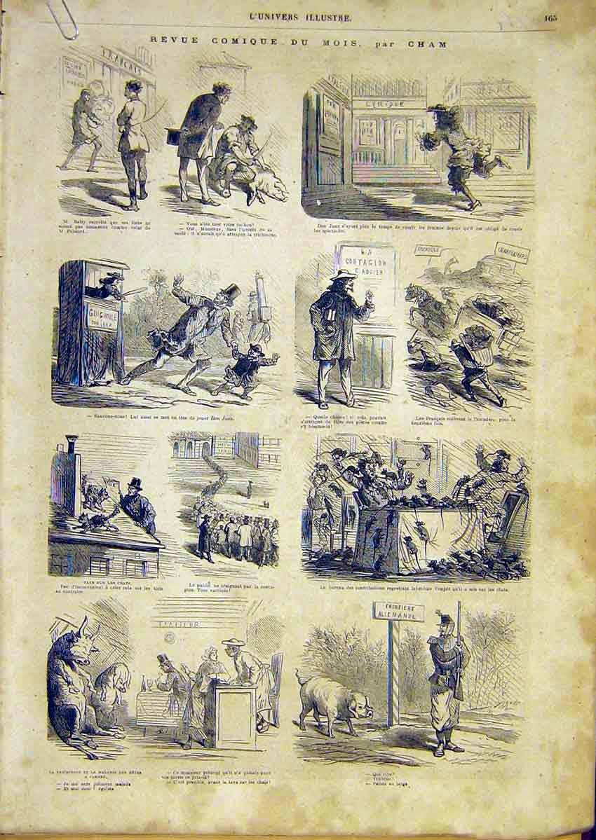 Print Comic Review French 1866 Sketches Cham 65Alun0 Old Original