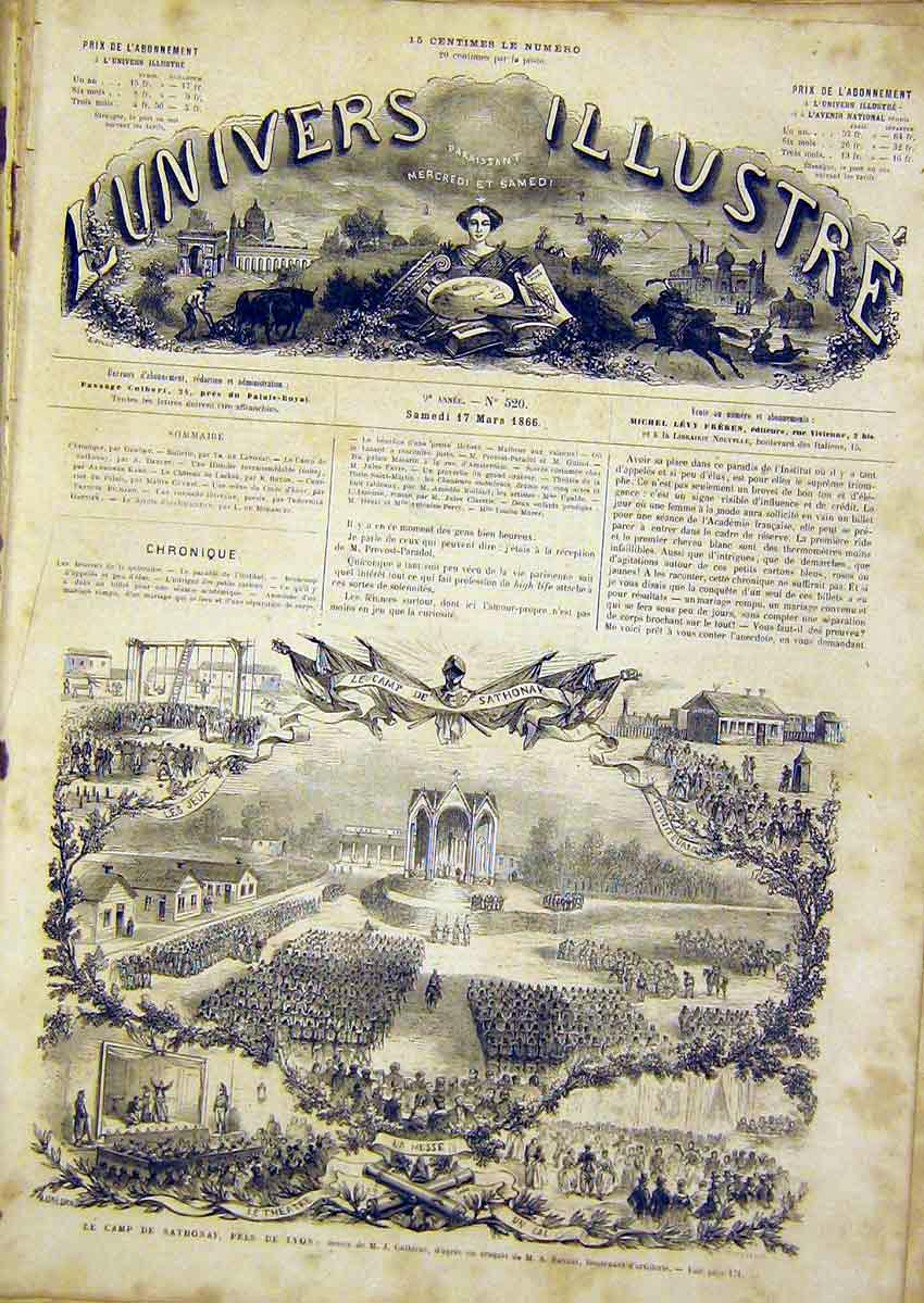 Print Lyon Sathonay Camp Military Review French 1866 70Lun0 Old Original