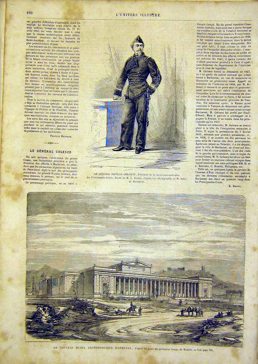Print Portrait Golesco Museum Athens French 1866 92Lun0 Old Original