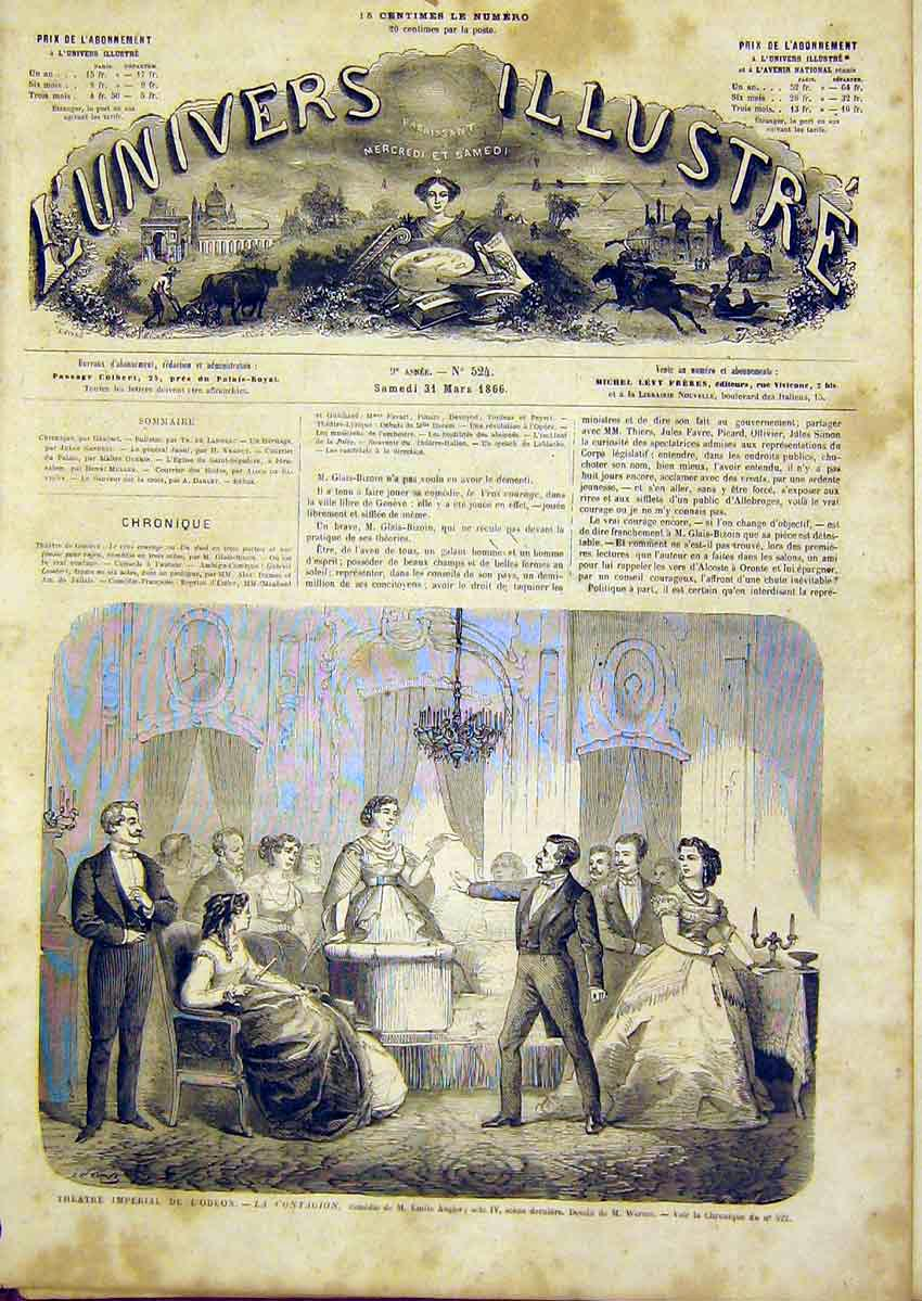 Print Theatre Odeon Augier Scene French 1866 02Lun0 Old Original