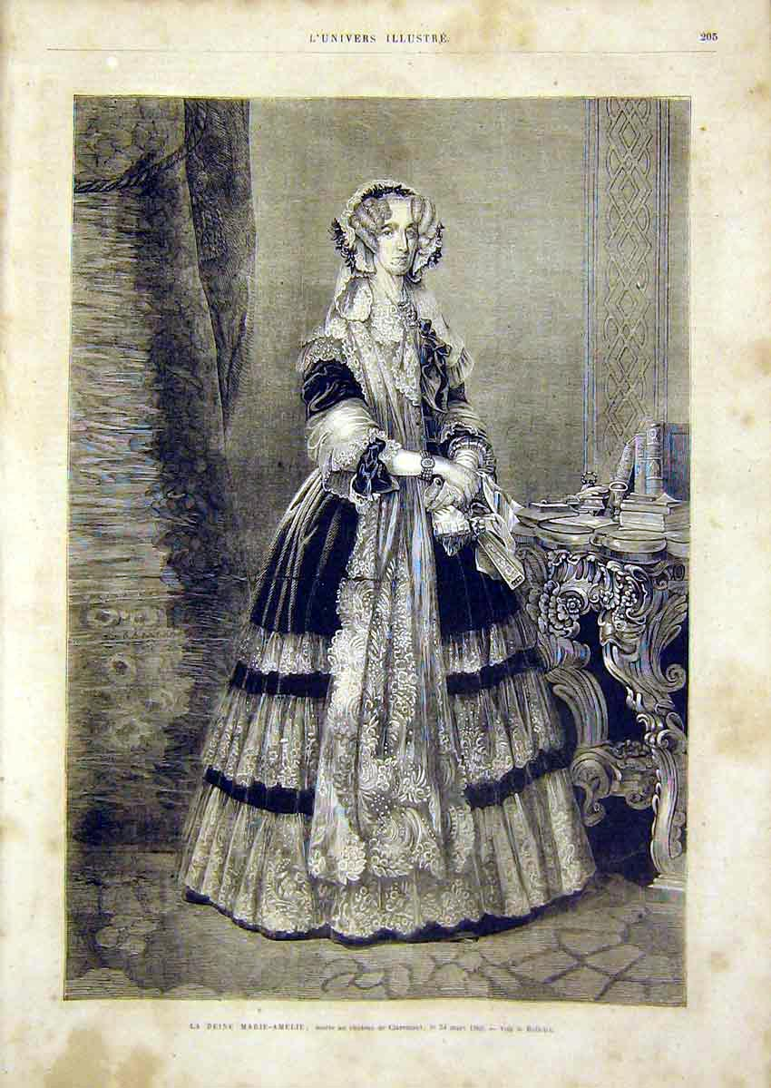 Print Mary-Amelia Claremont Royal French 1866 05Lun0 Old Original