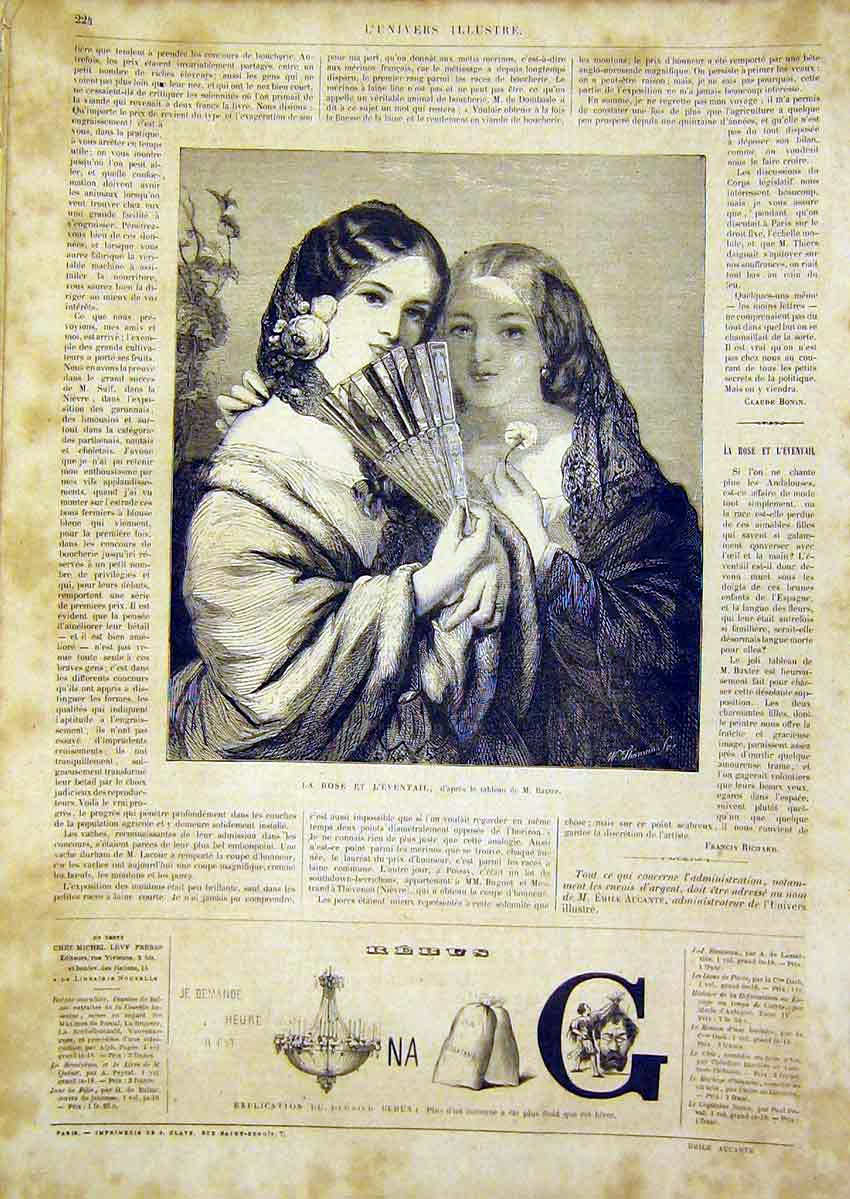 Print Rose Ladies Eventail Baxter Portrait French 1866 24Lun0 Old Original