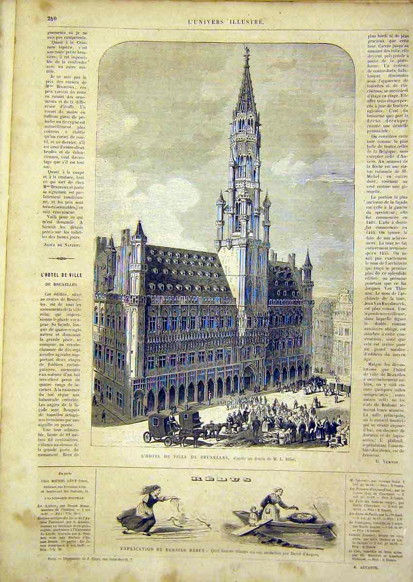 Print Hotel Brussels Elliot Building French 1866 40Lun0 Old Original