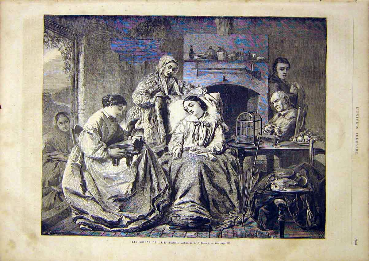 Print Sisters Bostock Family Portrait French 1866 53Lun0 Old Original