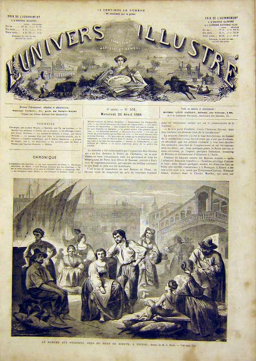 Print Fish Market Rialto Venice Fishermen French 1866 58Lun0 Old Original