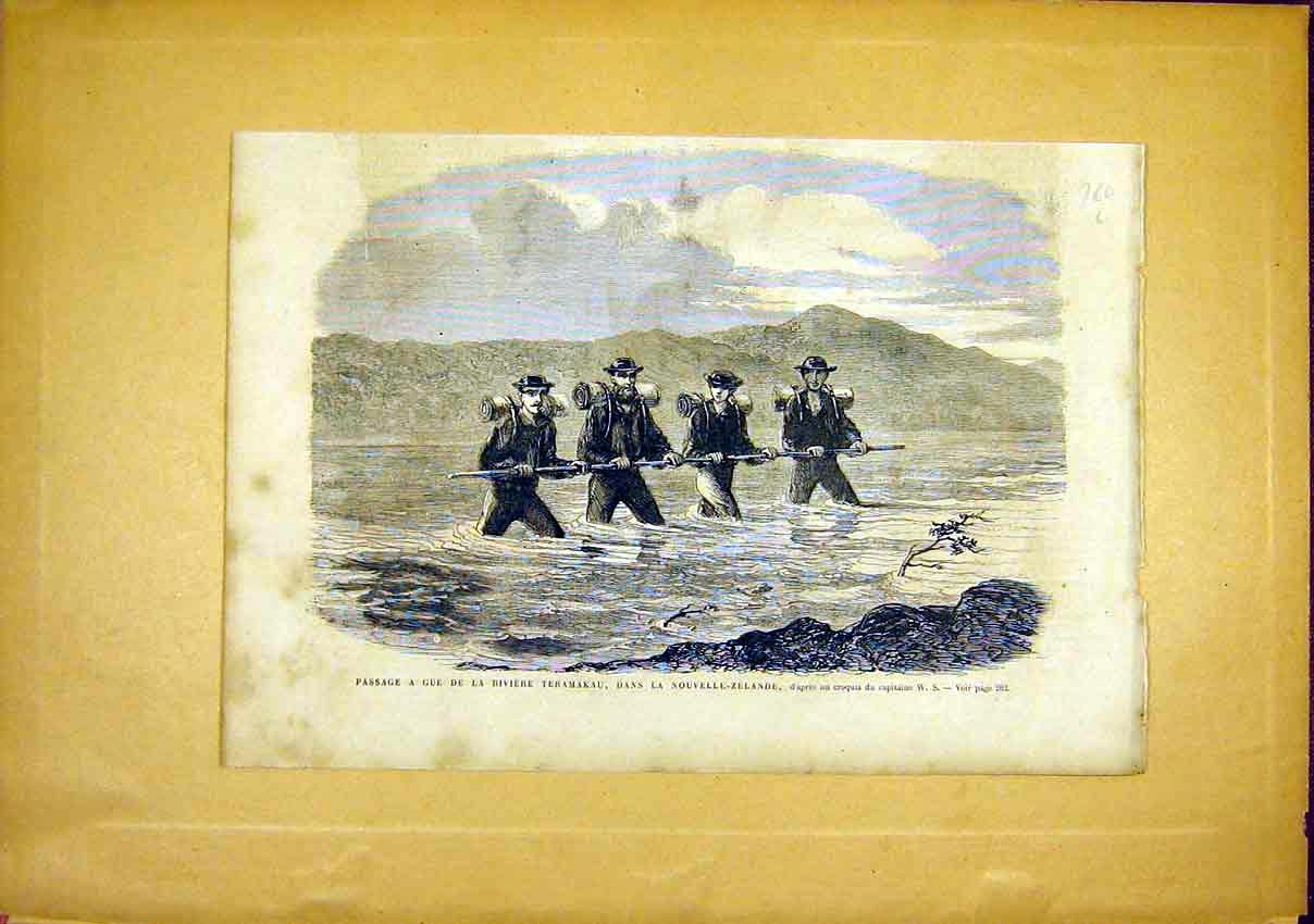 Print Teramakau New Zealand River French 1866 60Llun0 Old Original