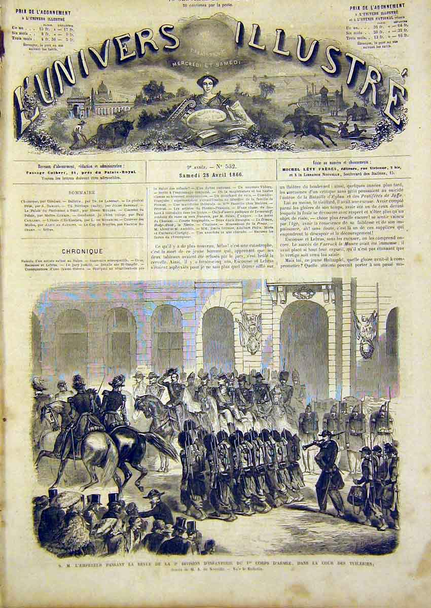 Print Review Infantry Army Tuileries French 1866 66Lun0 Old Original